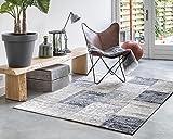 LIFA LIVING Patchwork Vintage Teppich | im schönen Vintage Muster | für Wohn- und Schlafzimmer | Farb und Größen Variationen (Dunkelblau, 160 x 230 cm)