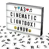 Cosi HomeTM A3 Lightbox, Lichtbox, Leuchtkasten mit 120 Buchstaben, Emojis und Symbolen - zum individuellen Gestalten von Nachrichten - LED Deko Leuchtschild im Vintage Kino Design | USB und Batterie