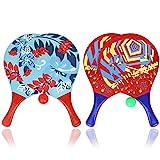 com-four 6-teiliges Beachball Set, Beachball-Schläger aus Holz und Gummibälle in verschiedenen Farben (06-teilig Mix)