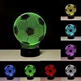 Linkax 3D LED Licht Nachtlicht Optische Täuschung Lampe Schreibtischlampe Tischlampe Nachtlicht 7 Farbfernbedienung mit Acryl-Ebene & ABS Basis & USB-Ladegerät