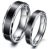 Edelstahl Mode Ringe mit Zwei Töne Poliert , Elegant Edelstahlringe Partnerringe Trauringe Eheringe (Männer, 60 (19.1))