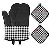 Silikon-Ofenhandschuhe,Esonmus Lange Topfenhandschuhe Doppel mit 2 Topflappen,Hitzebeständige rutschfeste Backhandschuhe für die Küche die Kochen Backen BBQ,Schwarz
