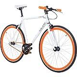 700C 28 Zoll Fixie Singlespeed Bike Galano Blade 5 Farben zur Auswahl, Rahmengrösse:53 cm, Farbe:weiss/orange