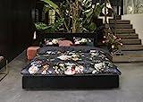 Essenza Satin-Bettwäsche Fleur, Farbe Nightblue 135x200cm 80x80