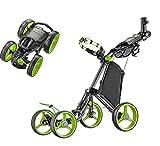 CaddyTek Superlite Quad V2 4-Rad Trolley Push Golftrolley Golfcaddy Golfwagen Schwarz Grün