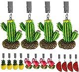 My-goodbuy24 Tischdeckenbeschwerer mit Klammer - 4er Set - Tischdeckenhalter Garten Tischdeckenklammern Tischtuch Clips - Polystone (Ananas)