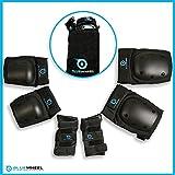 Bluewheel Schutzausrüstung PS200 für Hoverboard, Inline-Skate, BMX-Fahrrad, Skateboard; Protektoren-Set mit optimaler Passformregulierung & festem Sitz für Kinder und Erwachsene – inkl. Tragebeutel (S)