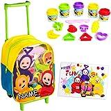 16 TLG. Set: Kinder Trolley & Kinderknete -  Teletubbies  - incl. Name - Knetset - Bastelset Knete - Formen & Figuren - wasserabweisend & beschichtet - für ..