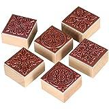 TRIXES Set mit 6 quadratischen Stempeln mit verschiedenen Ornamenten für Kunst und Handwerk mit Holzgriff Geschenk Brief Karten, Stempel Ornamente