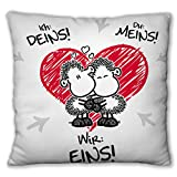 Sheepworld 45190 Plüsch-Kissen 'Ich: Deins! Du: Meins! Wir: Eins!', 25 cm x 25 cm, Zierkissen mit Liebesmotiv, mit Schlaufe zum Aufhängen