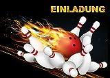 10 Bowling-Einladungen (Set 1) / Geburtstagseinladungen Kinder Mädchen Jungen: 10-er Set Bowling-Einladungskarten zum Kindergeburtstag oder zum Bowling / Kegel-Abend von EDITION COLIBRI  (10694)