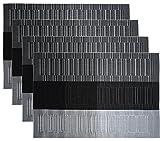 NKTM Platzdeckchen (4 er in Schwarz +Grau) PVC Abgrifffeste Platzsets Abwaschbar Hitzebeständig und Rutschfest Küche Tischsets 45 x 30 cm