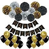 Geburtstag Party Dekoration, Recosis Happy Birthday Wimpelkette Banner Girlande mit Seidenpapier Pompoms und Luftballons für Mädchen und Jungen Jeden Alters - Schwarz, Gold und Silber