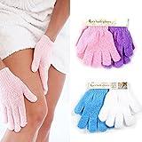 Dealglad, 4Paar Peeling-Handschuhe, für Hautpflege in Bad und Dusche, aus Luffa