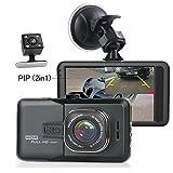 3 inch Auto Dashcam 1080P Full HD, Camecho Dual-Kamera für Autos, Fahr-Rekorder, DVR, mit Rückfahrkamera, Loopfunktion, Schwerkraftsensor, Nachtsicht (schwarz)