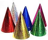 Lustige Partyhüte im Metallic-Look 20 Stück bunt 10 cm Einheitsgröße
