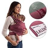Babytragetuch | Babytrage | 100% Bio-Baumwolle | Tragetuch | Für Neugeborene Bis 15kg | Aus Europäischer Herstellung | Atmungsaktiv | Ohne Künstliches Elastan | Von Laleni (Rot)