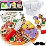Holz Pizza Spielzeug Set Spiel fur Kinder Lebensmittel mit pizzabäcker mütze - Küchenspielzeug-Accessoires und Zubehör für Kinder-Spielküchen