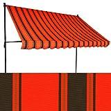 Klemm-Markise 3 x 1,5 m orangerot-schwarz (Profilfarbe: Anthrazit) Balkonmarkise Spannmarkise Sonnenschutz Klemmmarkise