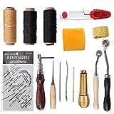 S.D.Maket 15 Stück Leder Werkzeuge set Handwerkzeuge Couture Leder Handwerk Handnähen Tool Set Nähen Werkzeug Ahle Fingerhut Gewachst Thread