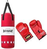 Bad Company Box-Set für Kinder und Jugendliche I Canvas Boxsack, gefüllt - inkl. Aufhängung I 8 OZ Boxhandschuhe I 60 x 25cm – Rot