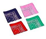 4-er Set Hundehalstuch Bandana Schal ca. 53x53 cm je 1 x dunkelblau, rot, rosa und grün von ReiTrade
