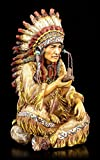 Indianer Häuptling Figur mit Friedenspfeife | Western Deko Statue
