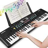 Keyboard, Multifunktions Digital Piano 61 Tasten Keyboard Set mit Mikrofon Notenständer Netzteil Für Kinder Geschenk,ideal für Kinder und Einsteiger,umfangreiche Lernfunktion