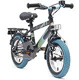 BIKESTAR Premium Sicherheits Kinderfahrrad 12 Zoll für Mädchen und Jungen ab 3-4 Jahre  12er Kinderrad Modern  Fahrrad für Kinder Schwarz & Blau
