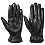 Acdyion Herren Winter Echtleder Handschuhe Warm Touch Screen Lederhandschuhe Outdoor Fahren Winddicht Warme Winterhandschuhe (Black, M)