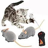 XLKJ Fernbedienung Ratte Plüsch Maus Spielzeug für Katze(Grau)