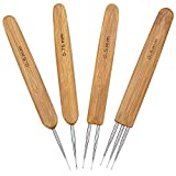 SelfTek Dreadlocks Häkelnadel-Set, 0,5 mm, 1 Haken, 2 Haken, 3 Haken und 0,75 mm, 1 Hock, Bambus Häkelnadel für Haarwehr, extra lange Häkelnadeln, perfekt für arthritische Hände, 4 Stück