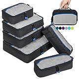 Packing Cubes Packwürfel Set,Kleidertaschen Packtaschen 6-teiliges,ltra-leichte koffer organizer set Ideal für Seesäcke, Handgepäck und Rucksäcke (Schwarz)