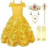 JerrisApparel Mädchen Belle Kostüm Prinzessin Kleid Drop Shoulder Cosplay Kostüm (5-6 Jahren, Gelb mit Zubehör)