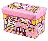 Amazinggirl Sitzhocker mit Stauraum Faltbarer und Moderne Motiv Falthocker ALS Aufbewahrungsbox Sitzwürfel und Deckel (Cake Shop Box, 44 x 28 x 28 cm)