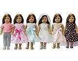 ZITA ELEMENT 6er Tägliche Kostüme Kleid Bekleidung für 17-18 Zoll American Girl Puppe und 43cm 45-46 cm Kleidung Puppenkleidung Babypuppen