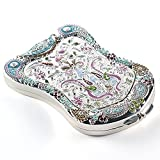 Jinvun Faltbarer Luxus Damen Schminkspiegel im Vintage Design | Kompaktspiegel in Schildform mit Vergrößerung | Klares Spiegelbild | Taschenspiegel für Reise & Unterwegs - Geschenk für Frauen
