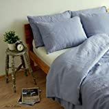 Linen & Cotton Stonewashed Leinen Bettwäsche, Bettwäsche-Set CAELUM, 100% Leinen - 140 x 200cm (SINGLE), Blau