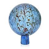 Lauschaer Glas Gartenkugel Rosenkugel aus Glas mit Granulat aquablau d 12cm mundgeblasen handgeformt