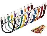 """MultiKable - CAT5E Netzwerk Ethernet -Patch-Kabel [ 0.5M ] UTP - mit 2x RJ45 Stecker Set """"10 Stück, 10 Farben """" (100 Kabelbinder in der Packung enthalten) 0.5 meter"""
