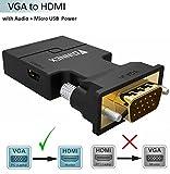 VGA zu HDMI Adapter mit Audio (Alter PC zu TV/Monitor mit HDMI), FOINNEX VGA zu HDMI TV Konverter für HDTV, Computer, Projektor mit Audio Kabel und Micro USB Kabel, Plug and Play, Portable Größe.