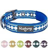 Blueberry Pet Halsbänder für Hunde 2,5cm L 3M Reflektierendes Hundehalsband in Palast-Blau mit Jacquardmuster, Passende Leine & Geschirr Separat Erhältlich