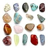 JOVIVI Naturstein Set Chakra-Set 18x verschieden Edelsteine Trommelsteine Formlos Natural Gemstones getrommelt Stein Set