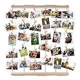 Bilderrahmen Collagen,AIEVE Fotowand Holzbilderrahmen Fotorahmen Wanddekoration mit Klammer um mehre Fotos Aufzuhängen für DIY Basteln Weihnachtsgeschenk