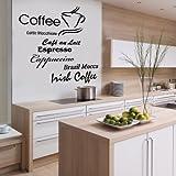 Indigos w198 Wandtattoo Küche Kaffee mit Coffee, Cappuccino und Kaffeetassen Motiv, selbstklebendes Wandbild ideal für Esszimmer und Gastronomie, 80x79, schwarz