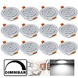 Hengda 12 Stücke 7W LED Einbauleuchte 560 Lumen 6500K Kaltweiß Deckenspots Dimmbar Einbauspot für den Wohnbereich Einbauleuchten set IP44