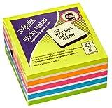 Snopake Sticky Notizblock, Post-It, 76x 76mm, Neon, unterschiedliche Farben (450Blatt/Würfel) Artikelnummer 11702 76mm x 76mm Multi Colour Rainbow Neon Mix