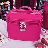 DNNAL Kosmetikkoffer Tragbarer Reise-Make-up-Kosmetik-Etui-Organizer Mini-Make-up-Zug-Etui mit verstellbarem Teiler-Kosmetiktasche, pink