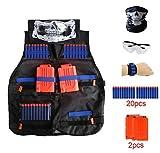 Locisne Kinder Dschungel Tarnung Taktische Weste Jacke Kit(w/20pcs Schaum Darts+Schutzbrille Gläser+Nahtlose Schädel Gesicht Maske+2Stk 6-Dart Schnell Reload Clip+1Pcs 8-Dart Handgelenk Band)