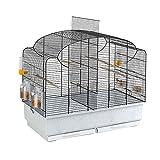 Ferplast Vogelheim Canto für Kanarienvögel und Exoten / Hochwertiger Vogelkäfig mit herausnehmbarem Trenngitter und umfangreichem Zubehör / Maße 71 x 38 x 60,5 cm